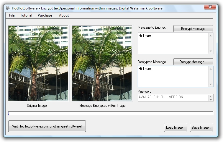 Encrypt your text within image files! Digital wate screenshot